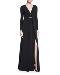 Halston Long Sleeve Twisted Front Jersey Gown Black