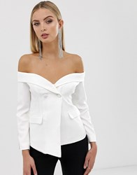 Lavish Alice Off The Shoulder Fitted Blazer With Sports Stripe White