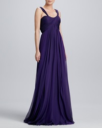 Carmen Marc Valvo Sweetheart Neck Chiffon Gown