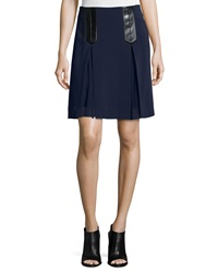Rebecca Taylor Faux Leather Trim A Line Suiting Skirt Navy