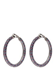 Kenneth Jay Lane Crystal Pave Hoop Clip Earrings Multi Colour