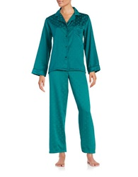 Miss Elaine Polka Dot Satin Pajamas Teal