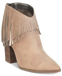 Kenneth Cole Reaction Pull Ashore Fringe Booties Women's Shoes Almond