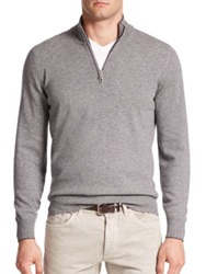 Brunello Cucinelli Quarter Zip Cashmere Sweater Grey