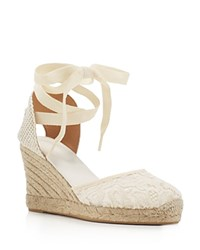 Soludos Lace Ankle Tie Espadrille Wedge Sandals Ivory Tulip