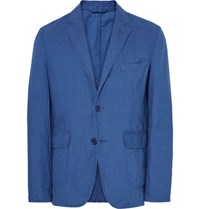 Aspesi Blue Slim Fit Unstructured Cotton And Linen Blend Blazer Indigo