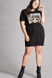 Forever 21 Plus Size Lace Up Skirt Black
