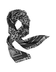 Roberto Cavalli Animal Print Twill Silk Square Scarf Grey