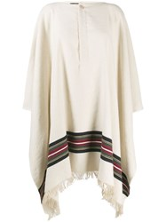 Jacquemus Striped Poncho Coat Neutrals