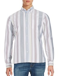 Brooks Brothers Block Striped Button Front Sportshirt White