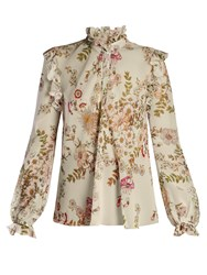 Giambattista Valli Floral Print Ruffled Silk Georgette Blouse Green White
