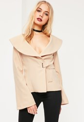 Missguided Nude Open Neck Side Tie Detail Crepe Blazer