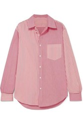 Solid And Striped Cotton Poplin Shirt Red