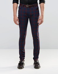 Asos 5 Pocket Skinny Trousers In Red Check Red