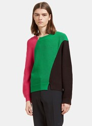 J.W.Anderson Colour Blocked Thick Ribbed Knit Sweater Black