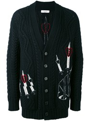Valentino Embroidered Cardigan Men Acrylic Polyamide Mohair Virgin Wool S Black