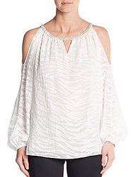 Ramy Brook Cain Printed Cold Shoulder Blouse Summer White