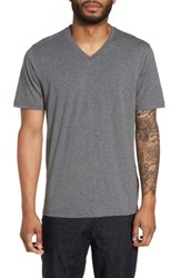Calibrate Men's Trim Fit V Neck T Shirt Grey Sleet Heather
