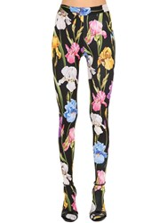 Dolce And Gabbana Floral Printed Jersey Sock Leggings Multicolor