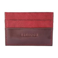 Estados Luxury Leather Card Holder Chocolate Brown And Bordeaux