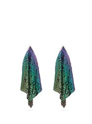Christopher Kane Iridescent Chainmail Drop Earrings Purple Multi