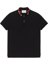 Gucci Polo With Snake Embroidery Black