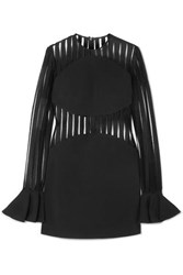 David Koma Striped Flocked Mesh And Cady Mini Dress Black