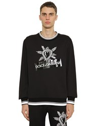 Dolce And Gabbana Printed Cotton Jersey Sweatshirt Black