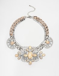 New Look Premium Crackled Stone Necklace Nude