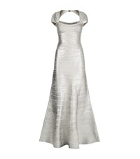 Herve Leger Cap Sleeve Bandeau Gown Female Silver