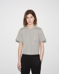 Alexander Wang Frayed Striped Cotton Top Ecru