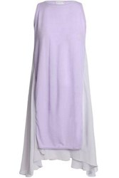Amanda Wakeley Asymmetric Paneled Cashmere And Georgette Top Lilac