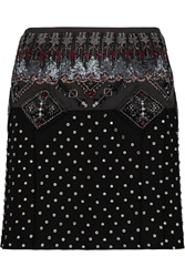 Emilio Pucci Embellished Pleated Silk Chiffon Mini Skirt Black