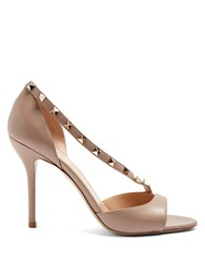 Valentino Rockstud Asymmetric Strap Leather Sandals Nude