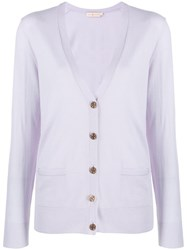Tory Burch Relaxed Fit Cardigan Purple