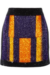 Balmain Color Block Embellished Velvet Mini Skirt Multi