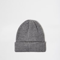 River Island Mens Grey Marl Fisherman Beanie