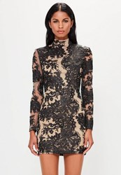 Missguided Black High Neck Mesh Lace Bodycon Dress