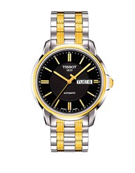 Tissot Mens Automatic Iii Classic Black Automatic Watch Two Tone