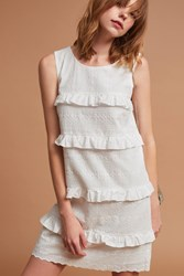 Anthropologie Ruffle Tiered Shift White