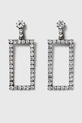 Topshop Statement Rhinestone Rectangle Earrings Clear