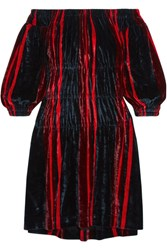 Sonia Rykiel Off The Shoulder Striped Velvet Mini Dress Navy