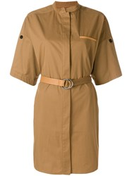 Yves Salomon Belted Utility Style Dress Brown