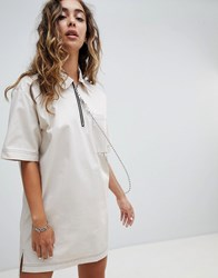 The Ragged Priest Woven T Shirt Dress With Ball Chain White