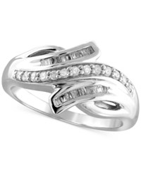 Macy's Diamond Bypass Ring 1 4 Ct. T.W. In Sterling Silver