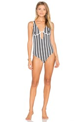 Minkpink Show Your Stripes One Piece Swimsuit Black And White