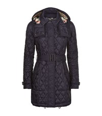 Burberry Brit Finsbridge Quilted Trench Coat Female Blue