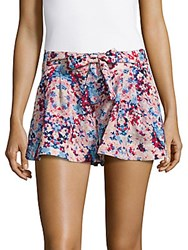 Parker Floral Printed Pleated Shorts Viola