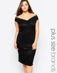 Lipstick Boutique Plus Off Shoulder Lace Pencil Dress Black