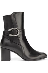 Gucci Dionysus Leather Ankle Boots Black